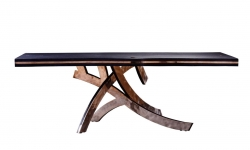 "Wooden table  ""SAMURAI"" Solid oak, base - bronze. 2500*1000*80 mm. Black top color by  Japanese technology Yakisugi."